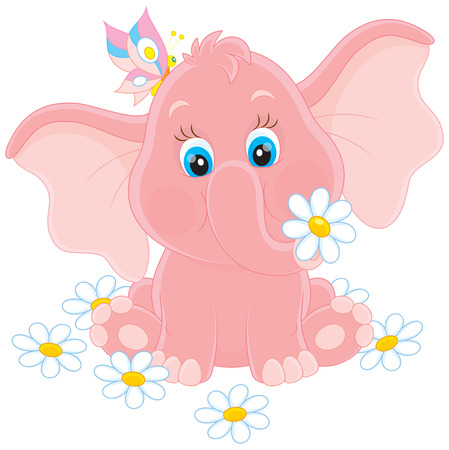 oxeye: Little elephant with flowers Illustration