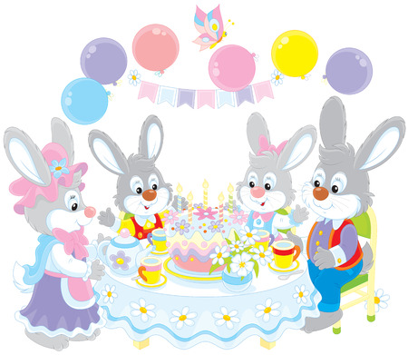 gleeful:  rabbits at the holiday table with a birthday cake