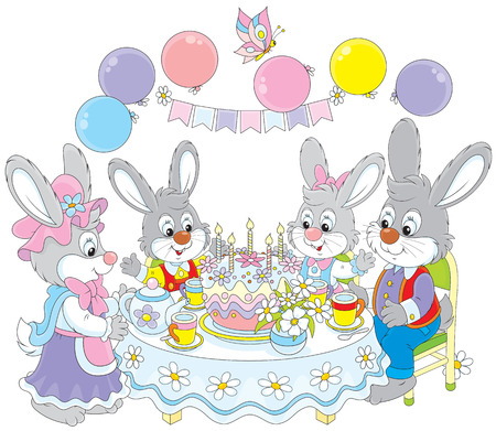 children s: Family of rabbits at the holiday table