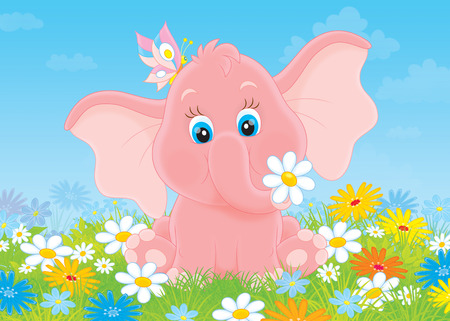 oxeye: Little elephant with flowers Stock Photo