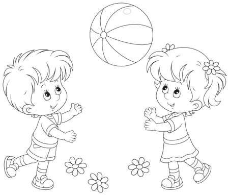 kind spielen: Kinder spielen einen Ball Illustration