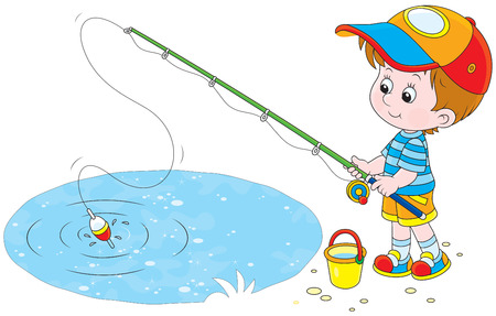 angling: Little Boy fishing Illustration
