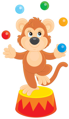 jugglery: Circus monkey juggling with color balls Illustration
