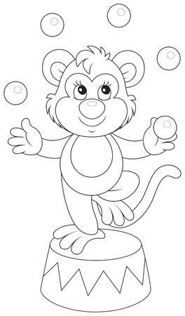 jugglery: monkey juggling with balls in circus Illustration