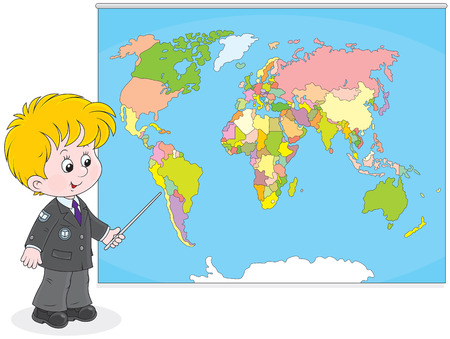 first grader: Schoolboy points to a country on a map of World
