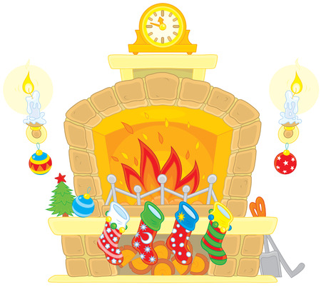 cartoon fireplace: Christmas Fireplace and socks for gifts