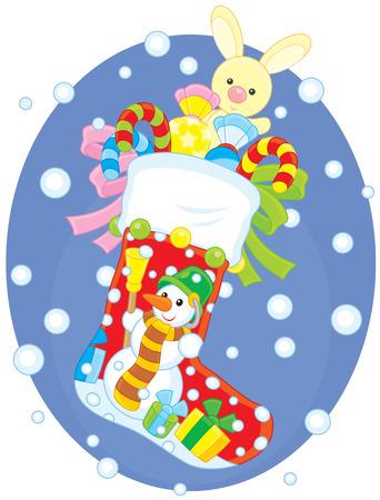 christmas sock: Calza di Natale con i regali Vettoriali