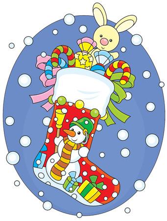 sweetmeats: Calcet�n de Navidad con regalos Vectores