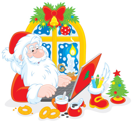 father frost: Santa Claus checking his Christmas email