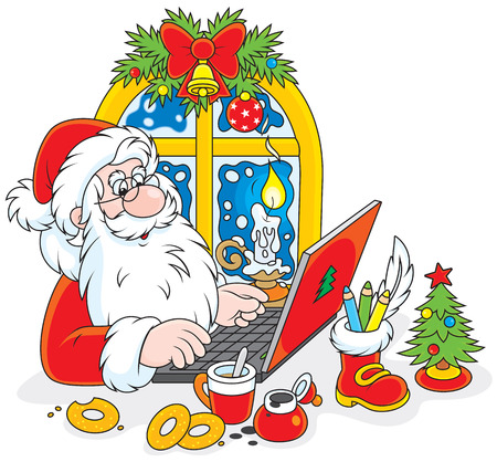 father frost: Father Christmas checking his email