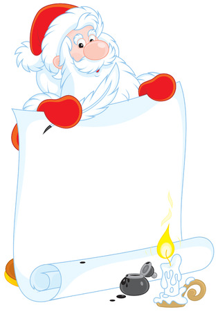 st  nicholas: Santa Claus with a scroll of paper for your text Illustration