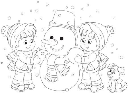 Children making a snowman Vector