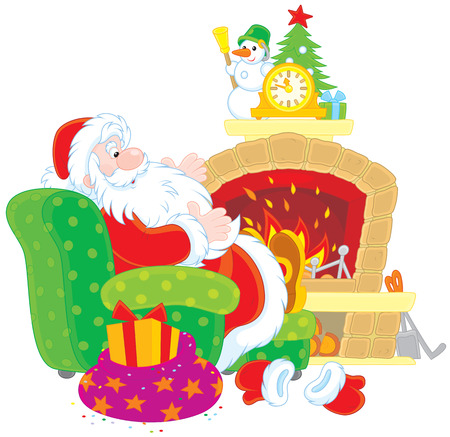 chimney corner: Santa Claus by a fireplace Illustration