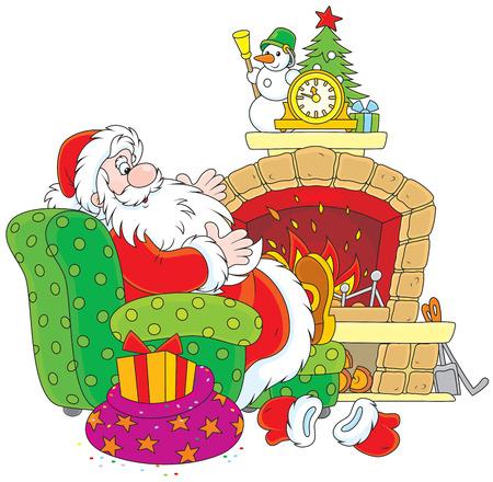 chimney corner: Pap� Noel que se sienta al lado de una chimenea Vectores
