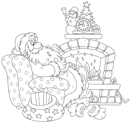 Santa Claus by a fireplace Illustration