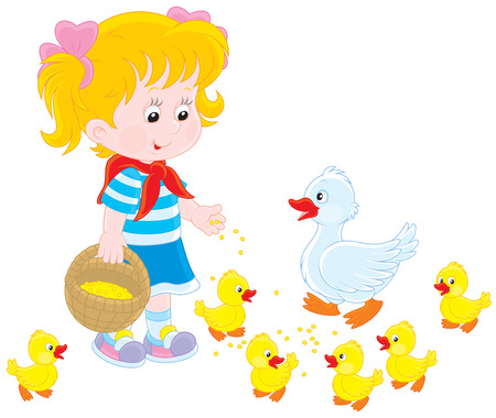 tot: Girl feeding ducklings