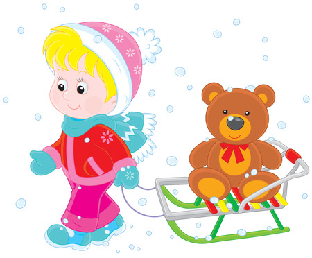 toy bear: Child walking with a sled  and toy bear