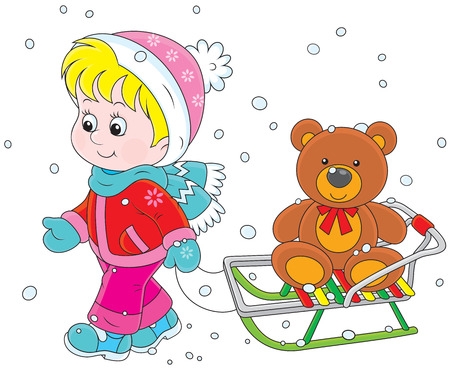 toy bear: Little girl walking with her sledge and toy bear