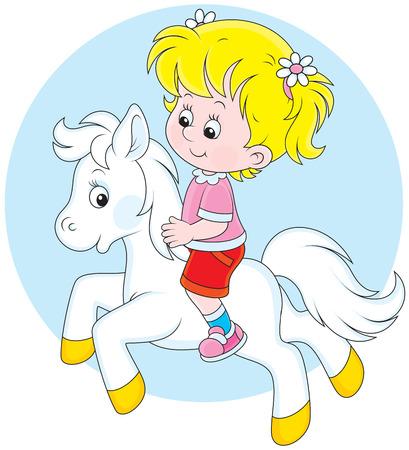 Girl riding a small white pony Vector