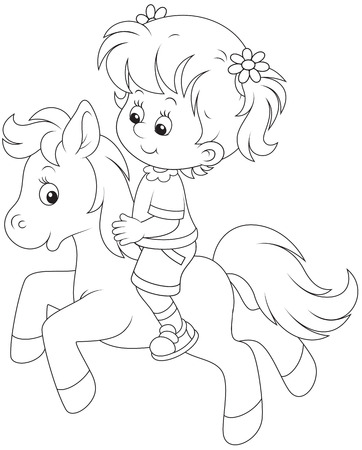 Little girl riding a pony Vector