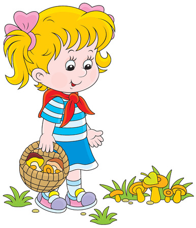 the infancy: Girl walking with a basket and picking mushrooms Illustration