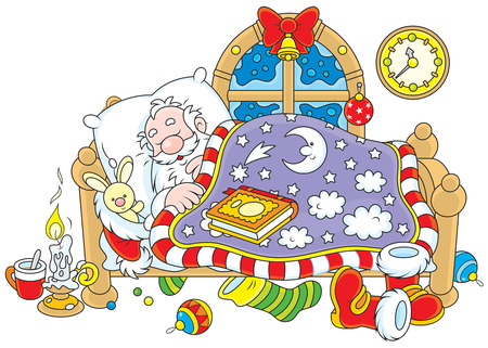 Father Christmas sleeps in his bed Vector