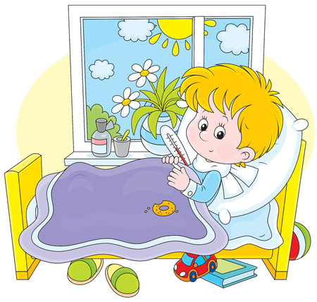 Ill boy with a thermometer Illustration