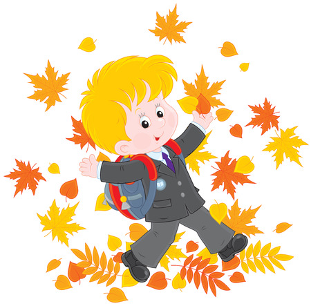 schooldays: Schoolboy with autumn leaves Illustration