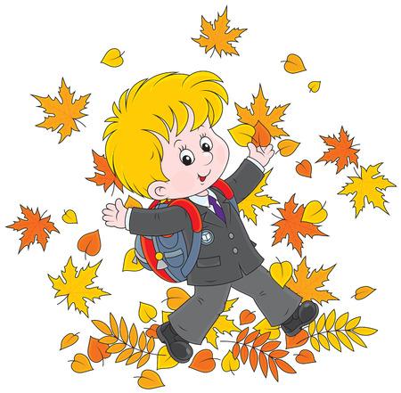 first grader: Joyful schoolboy throws up colorful leaves Illustration