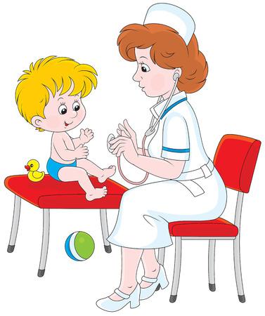 Pediatrician examines a little child Vector