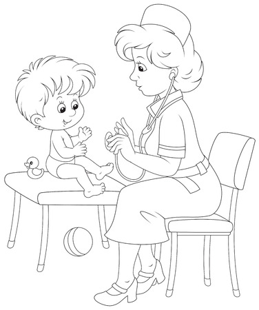 school nurse: Pediatrician examines a little child Illustration
