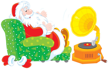 repose: Santa Claus listening to music on his old gramophone Illustration