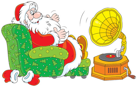 moroz: Santa Claus listening to music