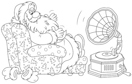 moroz: Santa Claus listening to music on his gramophone