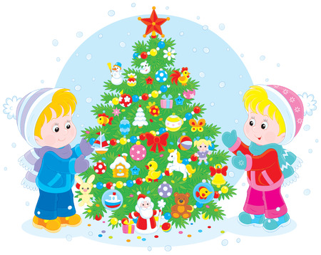 little boy and girl: Children and Christmas tree