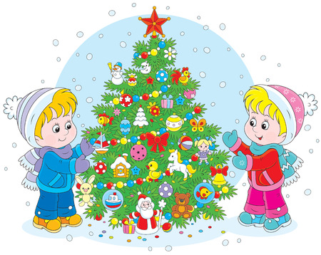 adorning: Little girl and boy decorating a green fir to the Holiday Illustration