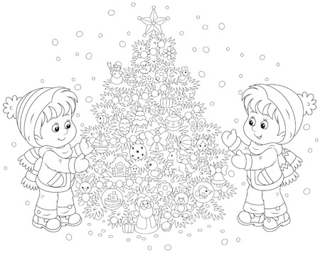 Children and Christmas tree Vector