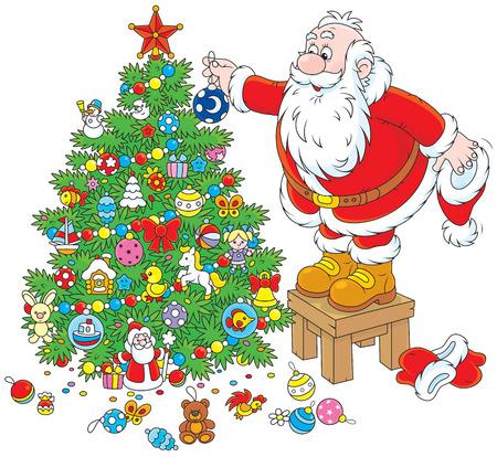 Santa Claus decorating a Christmas tree Vector