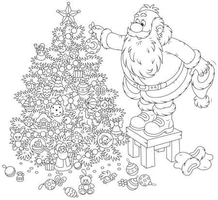 moroz: Santa Claus decorating a Christmas tree