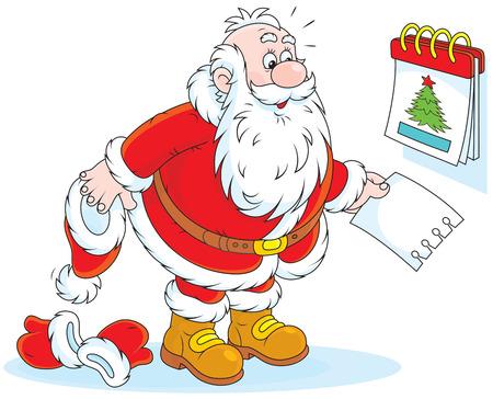 Santa Claus and a tear-off calendar Vector