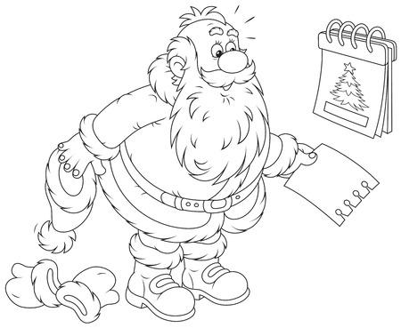 tear off: Santa Claus and a tear-off calendar