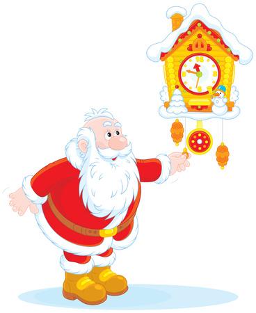 moroz: Santa Claus winds a cuckoo-clock