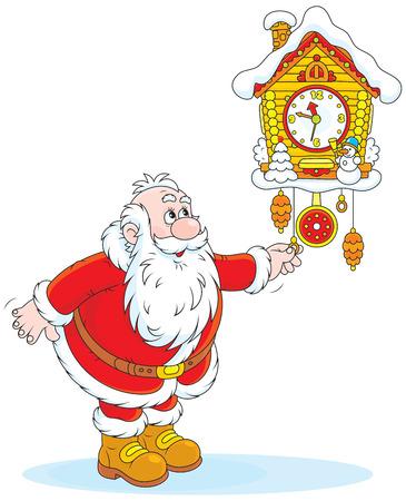 st nicholas: Santa Claus winds a cuckoo-clock