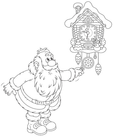 cuckoo: Santa Claus winds a cuckoo-clock