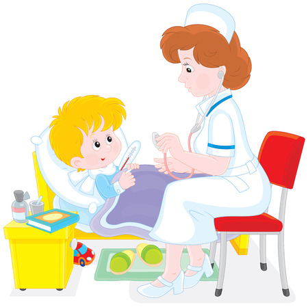 polyclinic: Doctor and little patient