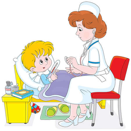 pediatrician: Doctor and little patient