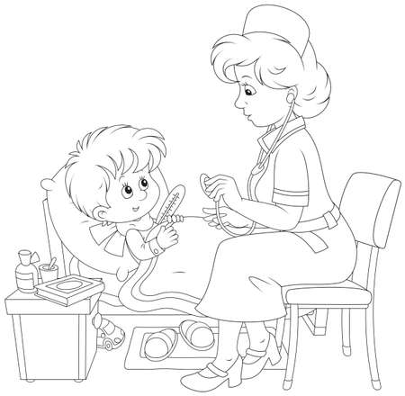 doctor examine: Doctor and little patient