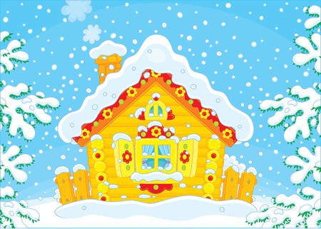 hamlet: Small log hut in snow on Christmas Illustration
