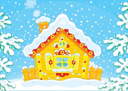 Small log hut in snow on Christmas Illustration