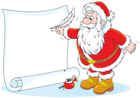 Santa Claus writing a holiday ad Vector